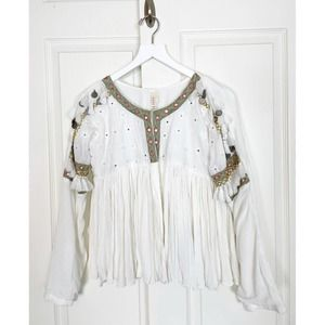 RAGA Embroidered Fringe Boho Gauzy Jacket